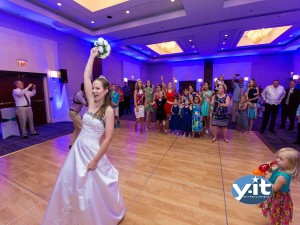 Wedding Bouquet toss at Hyatt Regency