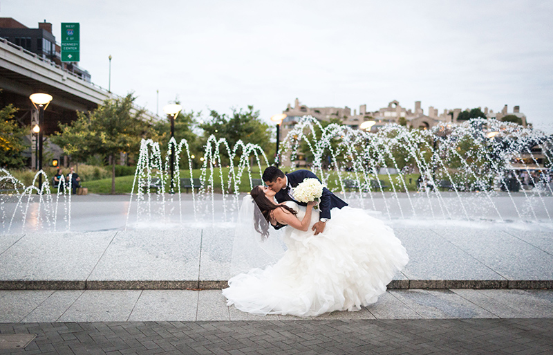 Keriann and Juan Carlos Kissing on their wedding day