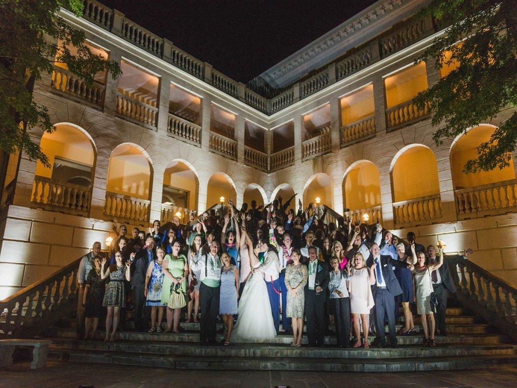 Jamie & Greg's Wedding Reception Group Shot with uplighting