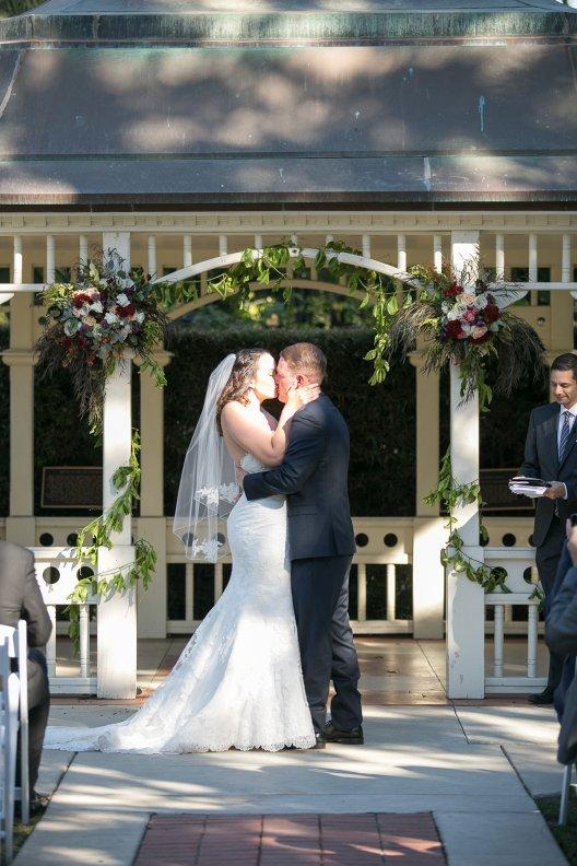 Catherine and Ben Wedding Ceremony Kiss Camarillo Ranch House www.Yitentertainment.com Wedding Mobile DJ, Photo Booth, Lighting Ventura County