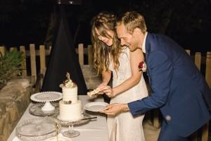 Elena and John Wedding Cake Cutting Santa Barbara, CA
