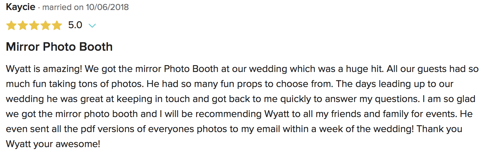 Mirror Booth Wedding Photo Boot review