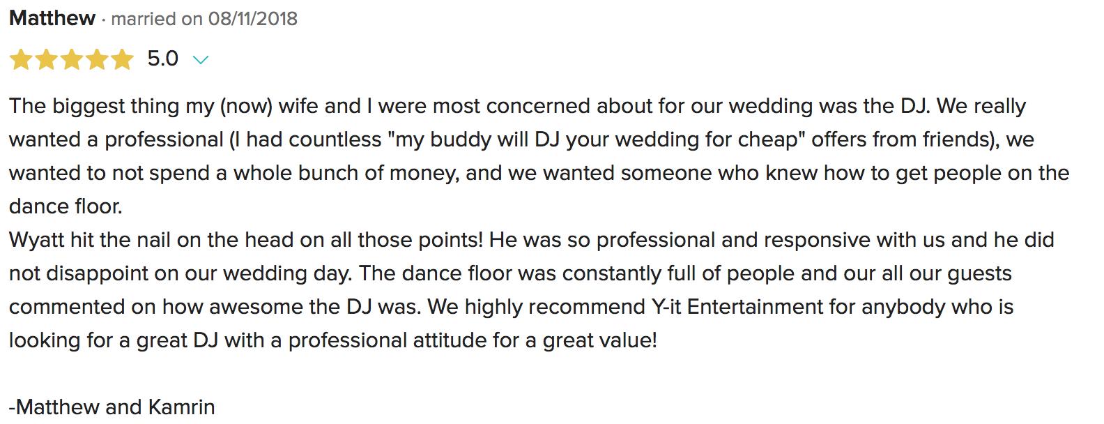 Wedding DJ Santa Paula Review 2018